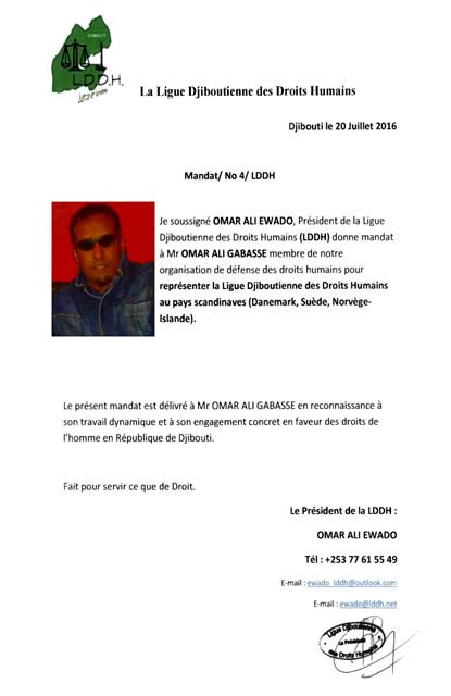 Nomination d'Omar Ali Gabasse pour réprésenter la LDDH dans les pays scandinaves