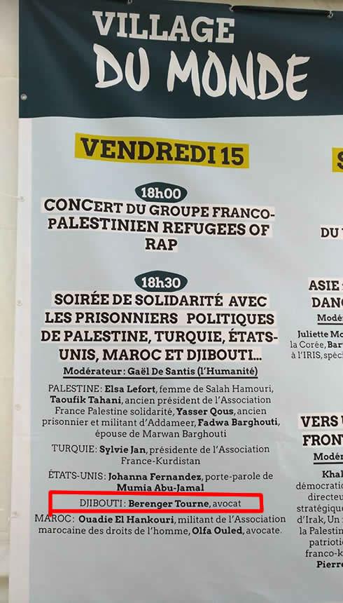 Interventions sur les prisonniers politiques en particulier à Djibouti - Fête de l'humanité - La courneuve - Sept 2017