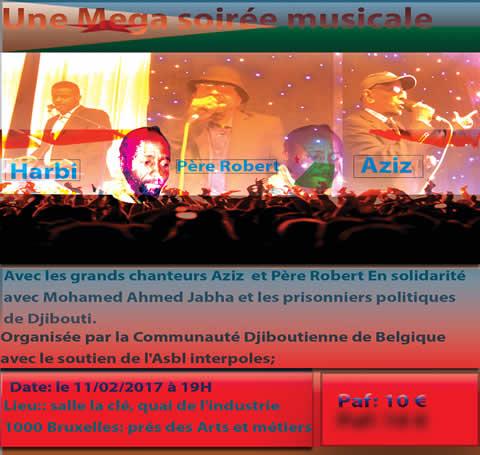 Soirée musicale du 11 février 2017 en soutien aux prisonniers politiques à Djibouti