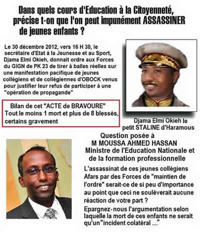 Les responsables de la tuerie de jeunes lycéens à Obock djibouti