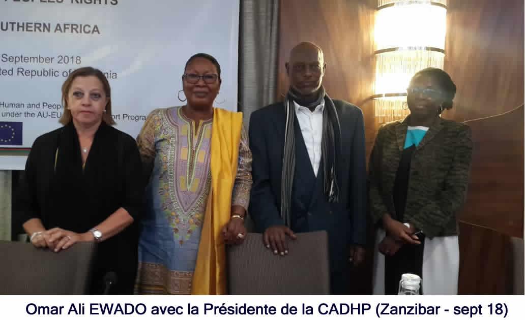 Omar Ali Ewado (Pdt LDDH) avec la Pdte de la CADHP a Zanzibar